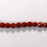 Бусина из яшмы красной, фигурная, 4 мм (шар, граненая)