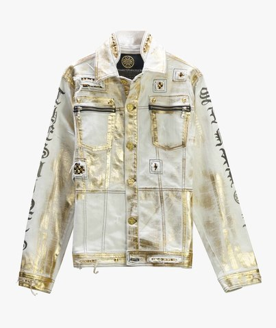Куртка джинсовая The Saints Sinphony WHITE & GOLD JACKET GOLD RIPS