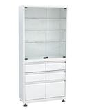 Медицинский шкаф (ШМС-2-Р-4/2) ШМС-2 с рег. опорами с выдвижным ящиком (4/2)