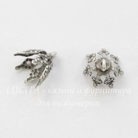 Винтажный декоративный элемент - шапочка с петелькой 9х9 мм (оксид серебра)