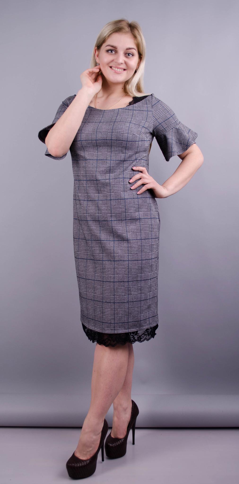 Еталон. Офісна сукня плюс сайз. Сіра клітинка.