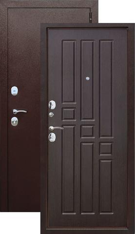 Дверь входная Бронин Грань 8, 2 замка, 1,2 мм  металл, (медь антик+дуб темный)