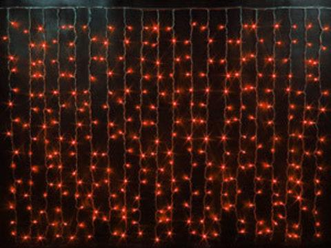 Гирлянда светодиодный занавес 2*3, с контроллером, цвет Красный, провод прозрачный