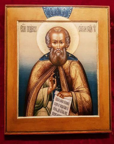 Икона святой Сергий Радонежский на дереве на левкасе (Мстера) мастерская Иконный Дом