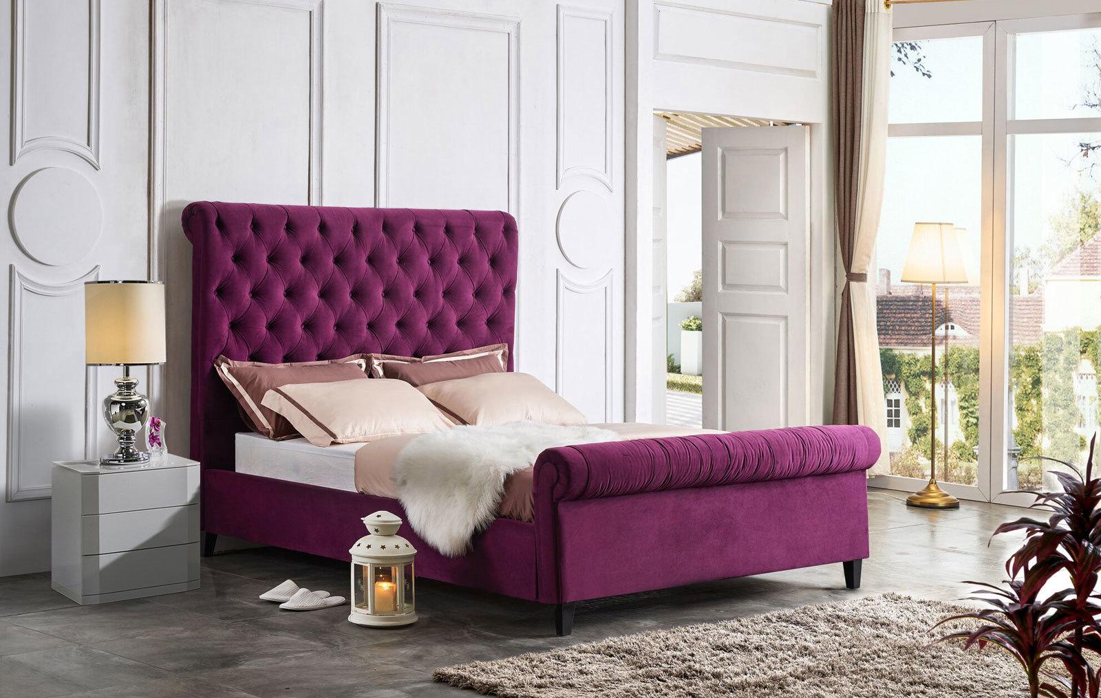 Кровать ESF IR-0822 пурпурная и тумбы прикроватные DUPEN (Дюпен) М-112 белые