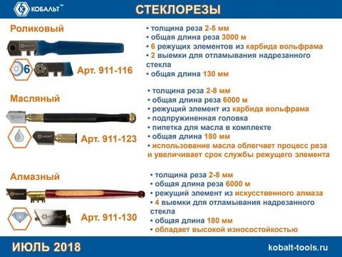 Стеклорез КОБАЛЬТ 6-роликовый, пластиковая рукоятка ,2-5 мм, 3000 м, блистер