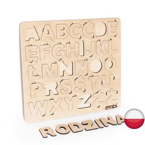 Деревянная азбука польский язык (размера стандарт)