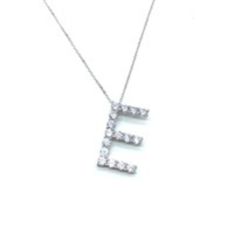Подвеска из серебра с цирконами буква E