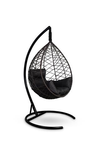 Подвесное кресло-кокон ALICANTE коричневое + каркас + черная подушка