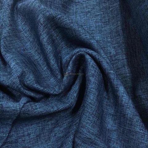 Блэкаут лен для штор темно-синий. BLL-208