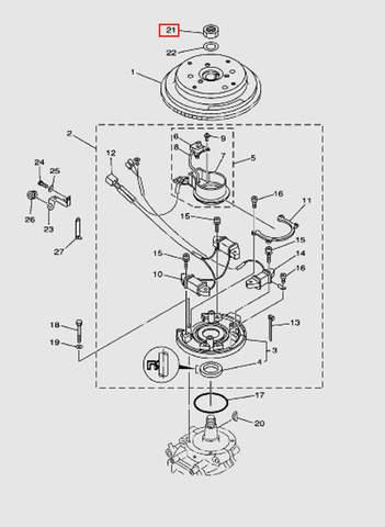 Шайба маховика для лодочного мотора T40 Sea-PRO (8-21)
