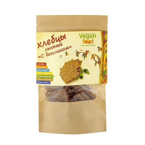 Хлебцы льняные с базиликом Vegan Food, 100 гр