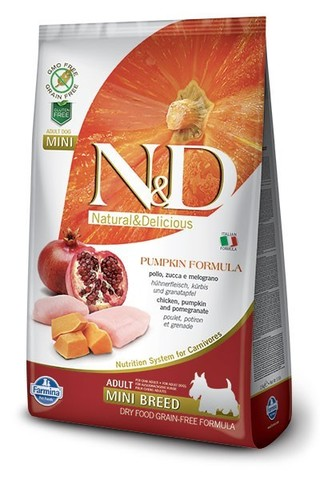 Сухой беззерновой корм Farmina N&D Grain Free Pumpkin Chicken & Pomegranate Adult Dog Mini