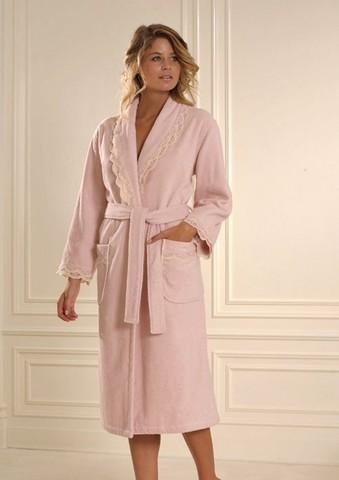BUKET - БУКЕТ розовый махровый женский халат Soft Cotton (Турция)