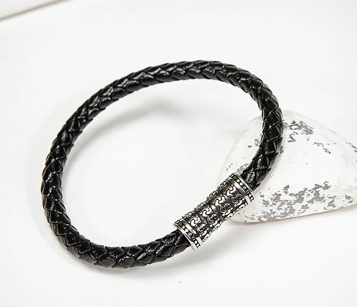 BM582 Черный кожаный браслет шнур из кожи