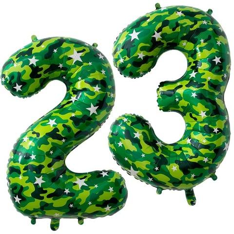 Комплект воздушных шаров цифр на 23 февраля, 102 см