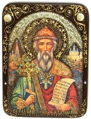 Инкрустированная икона Святой равноапостольный князь Владимир 29х21см на натуральном дереве в подарочной коробке