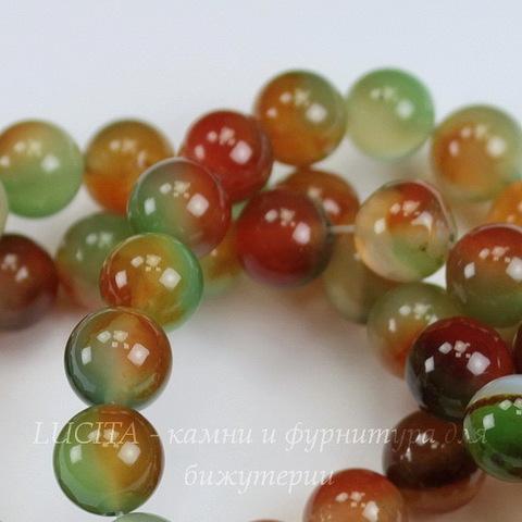 Бусина Агат (тониров), шарик, цвет - зелено-коричневый, 8 мм, нить