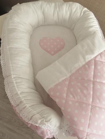 Комплект Babynest + одеяло розовое в белый горох