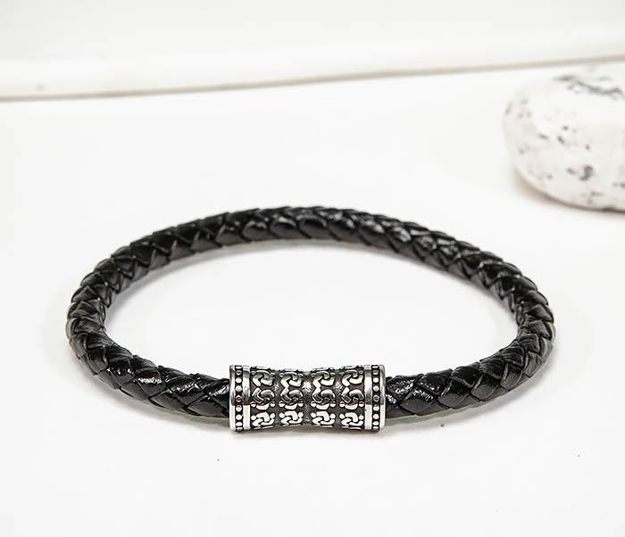 BM582 Черный кожаный браслет шнур из кожи фото 03