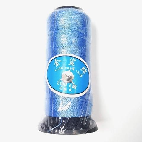 Нить для бус  большая катушка 0,6 мм цвет голубой