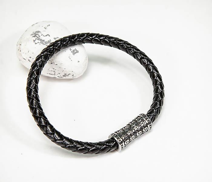 BM582 Черный кожаный браслет шнур из кожи фото 04
