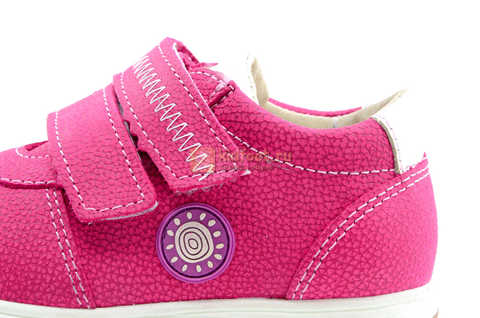 Ботинки для девочек Лель (LEL) из натуральной кожи на липучках цвет фуксия. Изображение 15 из 17.