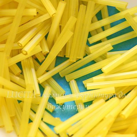85011 Бисер Preciosa стеклярус 20 мм, шестиугольный желтый сатин