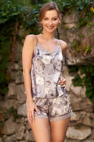Пижама с шортиками Mia Amore с принтом 3582 (70% натуральный шел