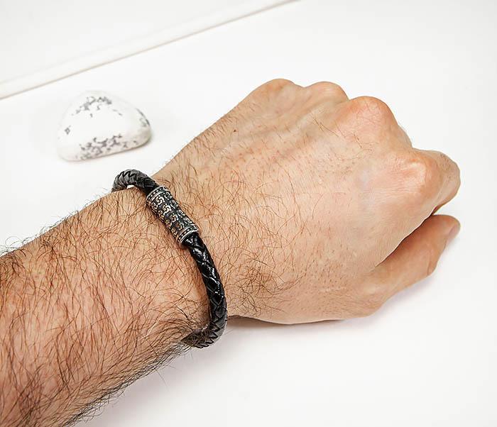 BM582 Черный кожаный браслет шнур из кожи фото 06