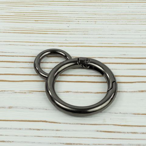 """Карабин-кольцо 25мм с ушком """"Тёмный никель"""""""