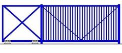Откатные ворота с заполнением решеткой 5500х2000 ЕВРО