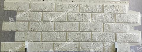 Фасадная панель Гранд Лайн Состаренный кирпич Молочный 1109х418 мм