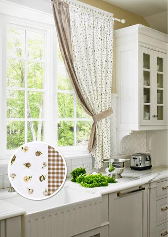 Готовая хлопковая штора для кухни с подхватом Карен