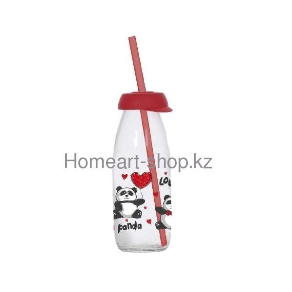 Бутылка детская с трубочкой panda 250 мл ;
