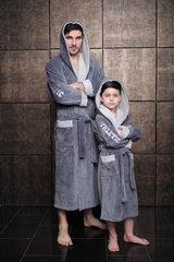 Athletic Junior СЕРЫЙ  халат для мальчика подростково-детский / Five Wien (Турция)