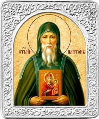 Святой Платон. Маленькая икона в серебряной раме.
