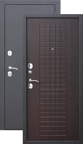 Дверь входная Бронин Грань Муар 8, 2 замка, 1,2 мм  металл, (чёрный муар+дуб темный)