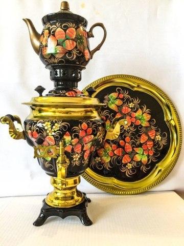 Самовар электрический трехлитровый в наборе с подносом и чайником с художественной росписью «Хохлома»