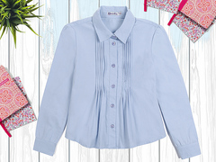 OP292Р-2 рубашка для девочки, голубая