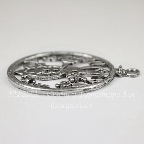"""Подвеска круглая """"Часы-Кролик"""" (цвет - античное серебро) 50х41 мм"""
