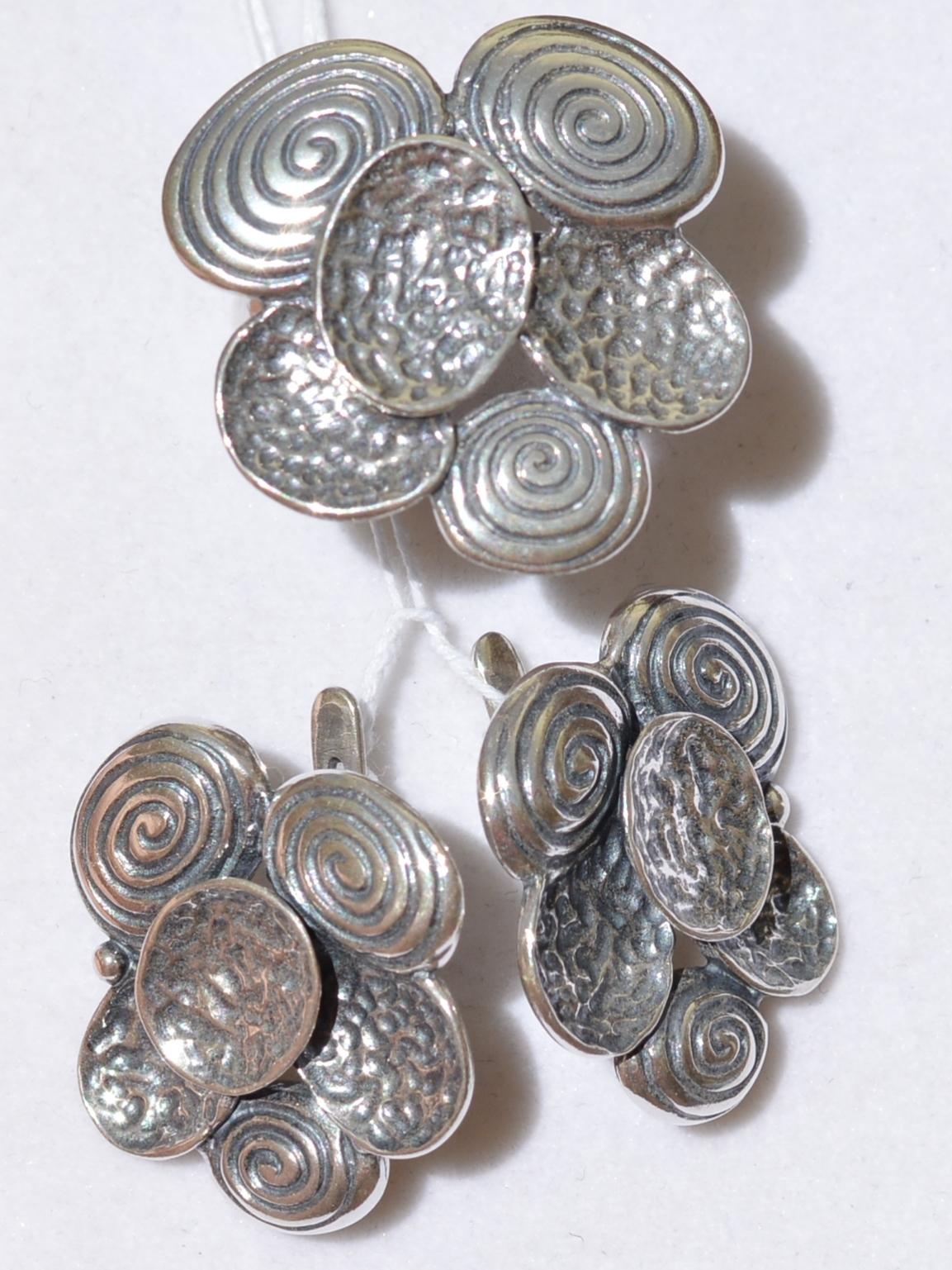 Шиитаке (кольцо + серьги из серебра)