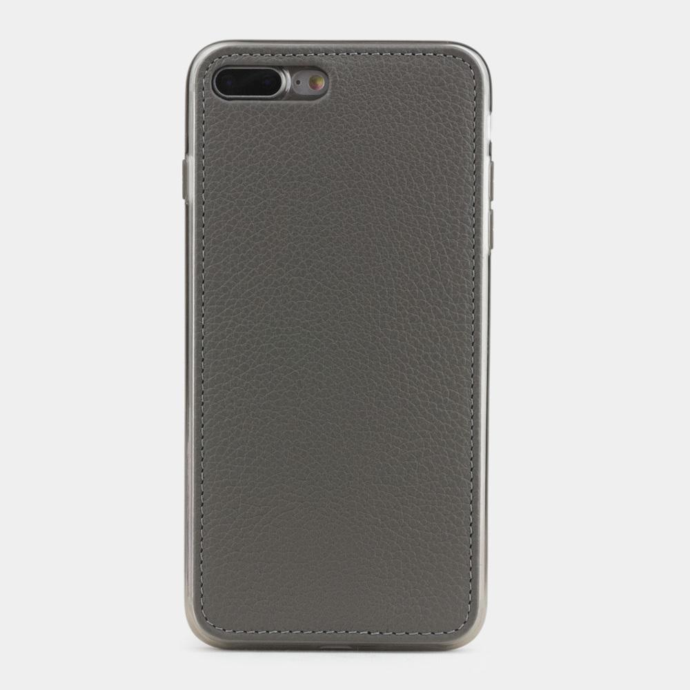 Чехол-накладка для iPhone 8 Plus из натуральной кожи теленка, серого цвета
