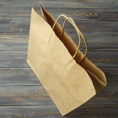 Крафт-пакет с кручеными ручками (25*31см, дно 11см)