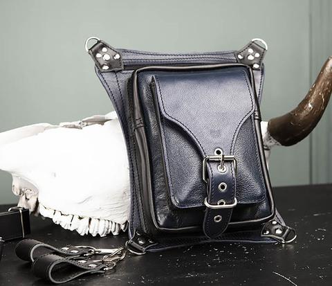 Мужская набедренная сумка из кожи черного и синего цветов