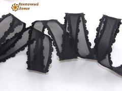 Органза черная с кружевным краем ширина 25 мм