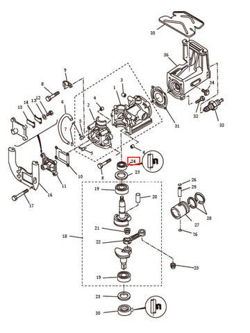 Сальник коленвала верхний  для лодочного мотора T2,5 SEA-PRO (2-24)