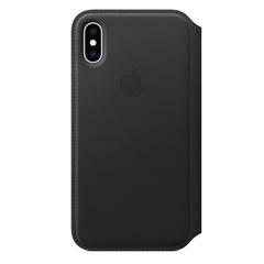 Кожаный чехол Apple Leather Folio для iPhone XS Max, цвет (Black) черный