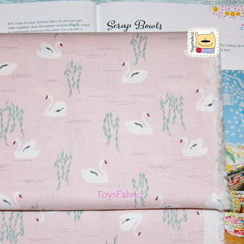 Ткань хлопок Корея Daily Like 20873 (лебеди на бледно-розовом) 45х55см