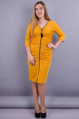 Инга. Модное платье больших размеров. Золото.